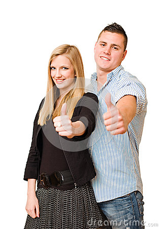 Attractive young couple showing thumbs up.