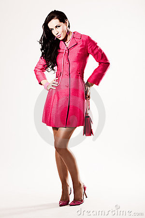 Free Attractive Young Fashion Model In Pink Coat Royalty Free Stock Images - 10023979