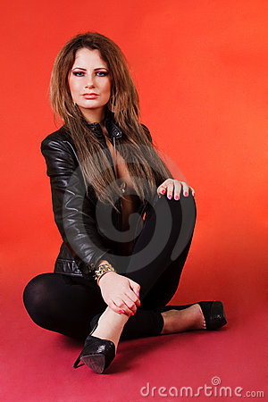 Attractive young girl in black jacket