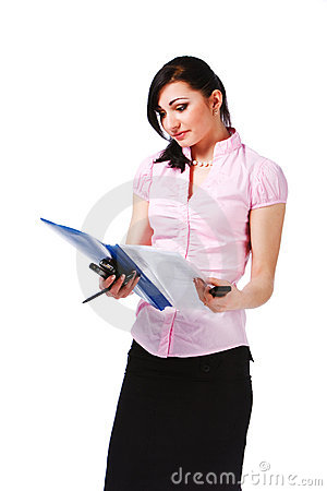 Attractive young girl in pink blouse with papers
