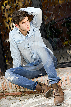 Free Attractive Young Handsome Man, Model Of Fashion In Urban Backgro Royalty Free Stock Photography - 31117667