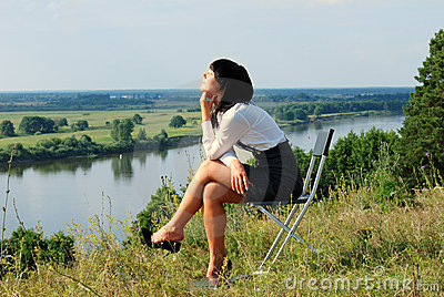 Attractive young lady relaxation
