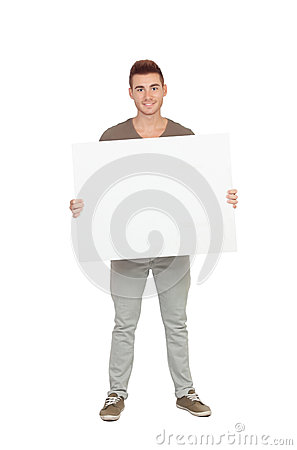 Attractive young man with a blank placard