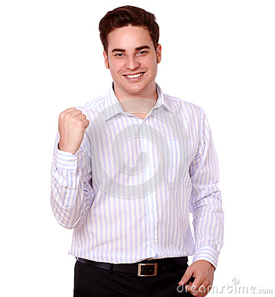 Attractive young man celebrating his victory