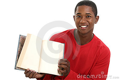 Attractive Young Man Holding Open Book with Blank Pages
