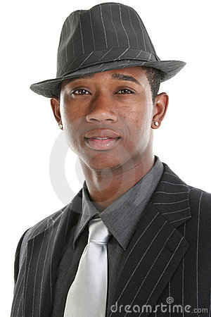 Attractive Young Man In Pinstripe Suit and Hat