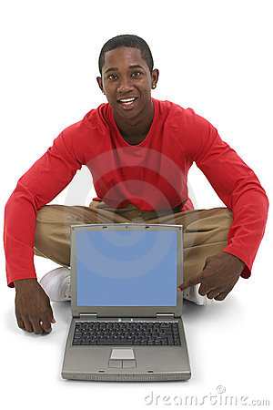 Free Attractive Young Man Pointing To Laptop Screen Stock Photography - 198752