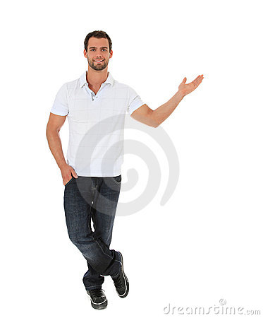 Attractive young man pointing to the side