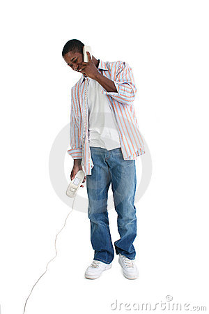 Attractive Young Man Speaking on Telephone