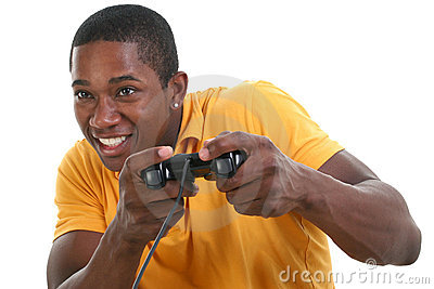 Attractive Young Man With Video Game Control Pad