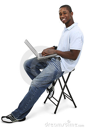 Free Attractive Young Man With Laptop Computer Royalty Free Stock Image - 199116