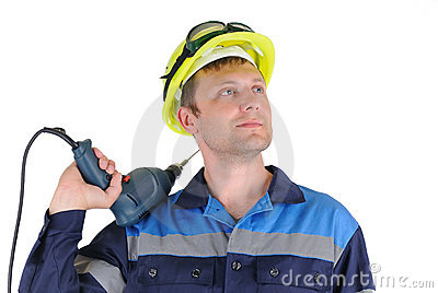 Attractive young men worker with a drill isolated