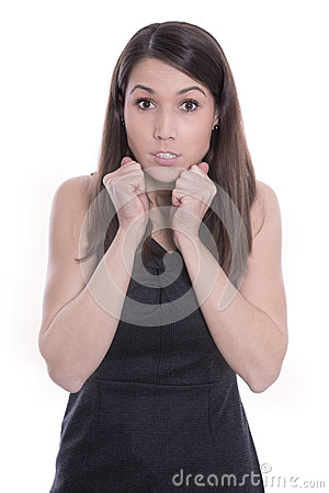 Attractive young puzzled woman  - isolated on white