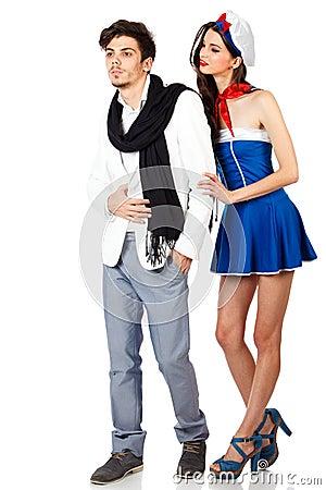 Attractive young sailor woman seducing elegant man