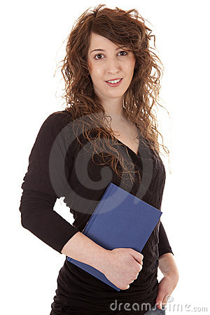 Attractive young student with textbook