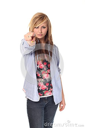 Attractive young teenage girl pointing