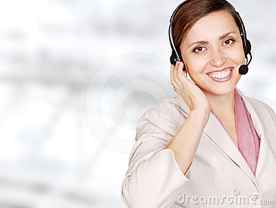Attractive young woman call center operator
