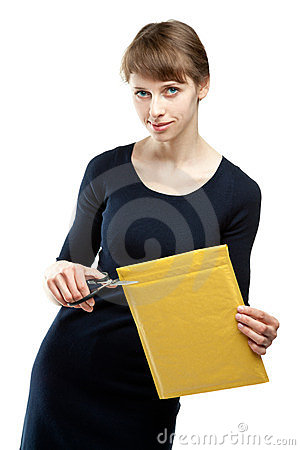 Free Attractive Young Woman Cutting Envelope Royalty Free Stock Images - 23966059