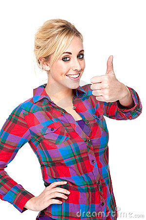 Attractive Young Woman Giving the Thumbs Up Sign