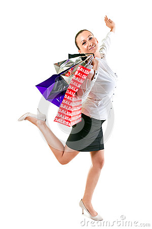 Attractive young woman happiness after shopping