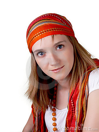 Attractive young woman in hippie style