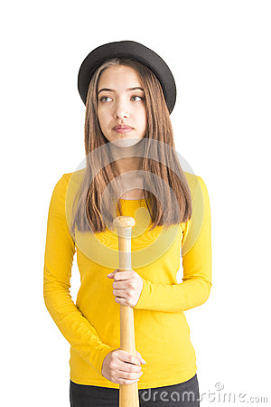 Free Attractive Young Woman Holding Baseball Bat Stock Image - 28950221