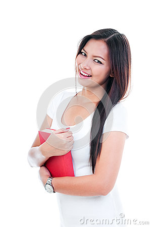 Attractive Young Woman Holding Book