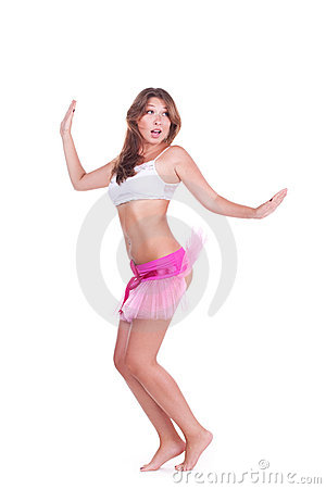 Attractive young woman jumping