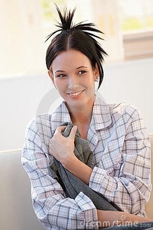 Attractive young woman in pyjama
