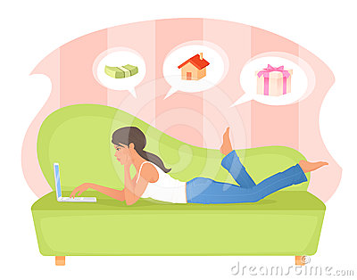 Attractive young woman relaxing with laptop