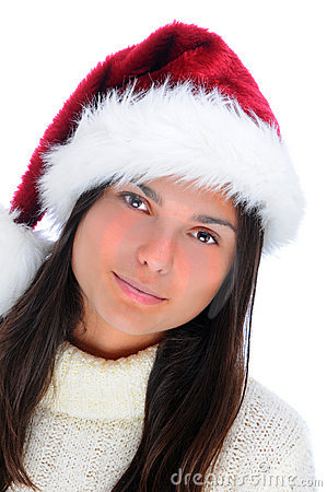 Attractive young woman in Santa hat