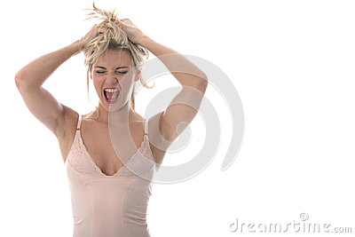 Attractive Young Woman Screaming
