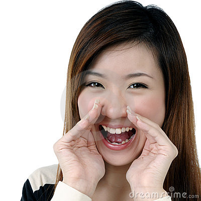 Attractive young woman screaming out loud