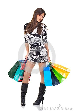 Attractive young woman with shopping bag