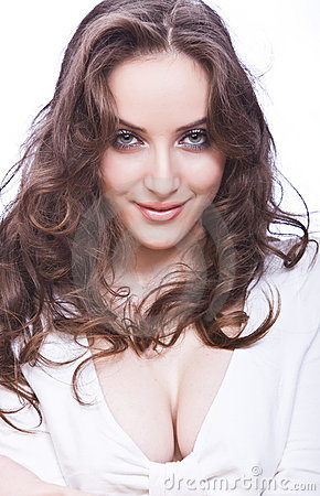 Attractive young woman with skittish look and long