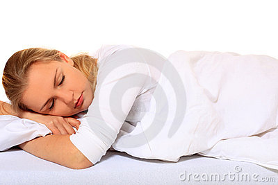 Attractive young woman sleeping bed