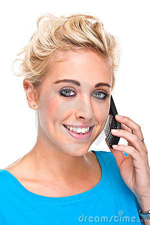 Attractive Young Woman Smiling while on Cell Phone