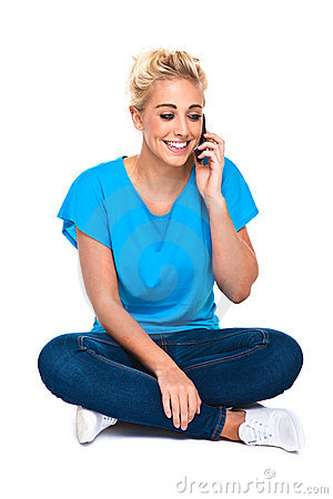 Attractive Young Woman Smiling On Cell Phone