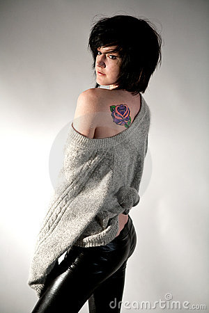 Attractive Young Woman With Tattoo