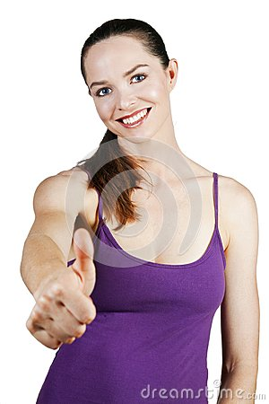 Attractive young woman with thumbs up