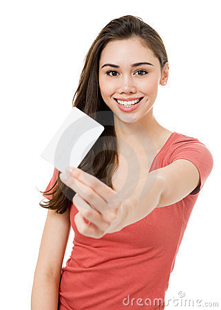 Free Attractive Young Woman With Blank Credit Card Royalty Free Stock Photo - 23445225