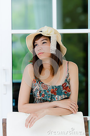 Attrative Asian woman relaxing