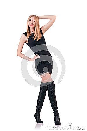 Attrative kvinna som ha på sig topboots
