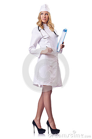 Attrative woman doctor  on white