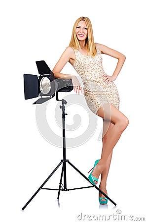 Attrative woman in studio