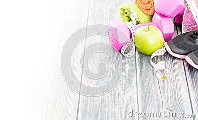 Attrezzatura di forma fisica e nutrizione sana