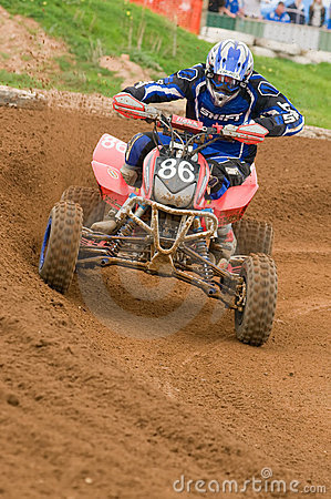 ATV Motocross Rider powering out of corner Editorial Stock Photo