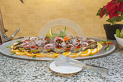 Aubergine salad at a restaurant buffet