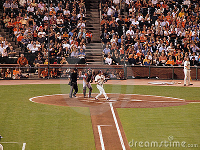 Aubrey Huff lets go of bat after fouling off pitch Editorial Stock Photo