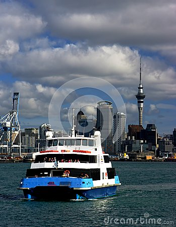Auckland City and Ferry Editorial Stock Photo